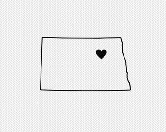 north dakota outline heart svg dxf file stencil silhouette cameo cricut downloads clip art commercial use