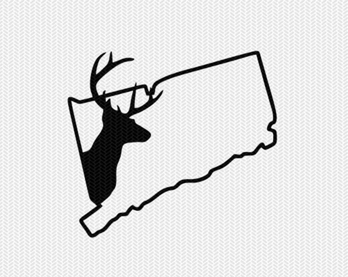 connecticut deer hunting svg dxf file stencil instant download silhouette cameo cricut downloads clip art deer hunting state svg dxf file