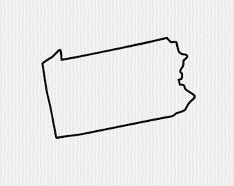 pennsylvania outline svg dxf file stencil silhouette cameo cricut clip art commercial use