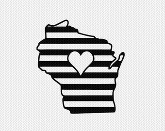 wisconsin stripes heart svg dxf file download stencil silhouette cameo cricut downloads cut file downloads clip art commercial use