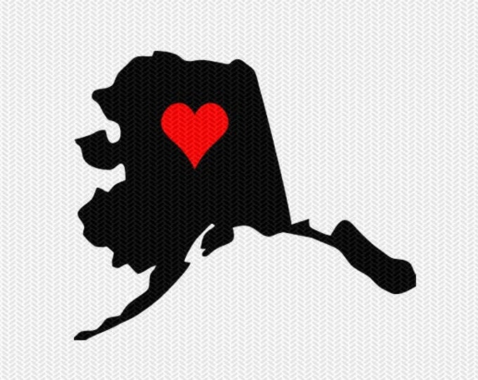 alaska heart svg dxf file stencil monogram frame silhouette cameo cricut clip art commercial use