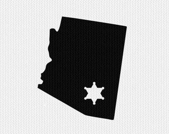 arizona sheriff svg dxf file stencil instant download silhouette cameo cricut downloads clip art state svg dxf file