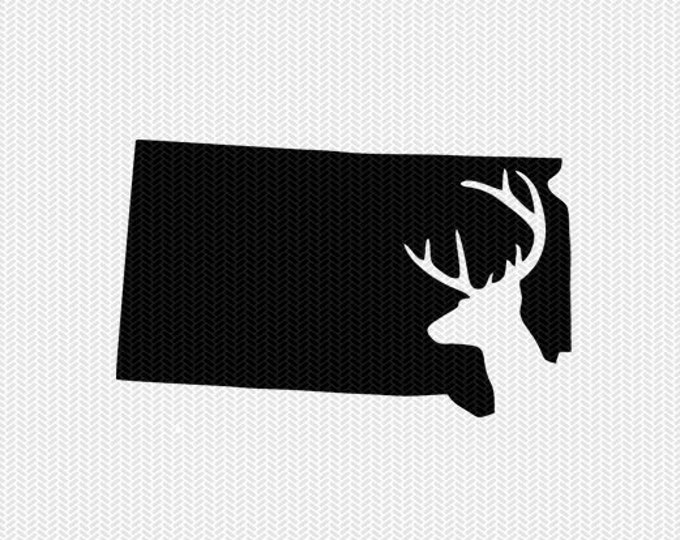 south dakota deer hunting svg dxf file stencil instant download silhouette cameo cricut downloads clip art deer hunting state svg dxf file