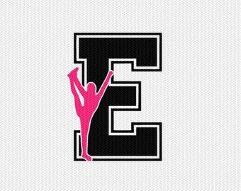 cheerleader E decal monogram silhouette stencil svg dxf file instant download silhouette cameo cricut downloads clip art commercial use