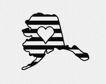 alaska stripes heart svg dxf file download stencil silhouette cameo cricut downloads cut file downloads clip art commercial use