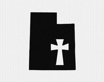 utah cross svg dxf file stencil state cut file silhouette cameo cricut download clip art commercial use