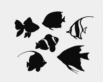 tropical fish stencil svg dxf file instant download monogram frame silhouette cameo cricut clip art commercial use