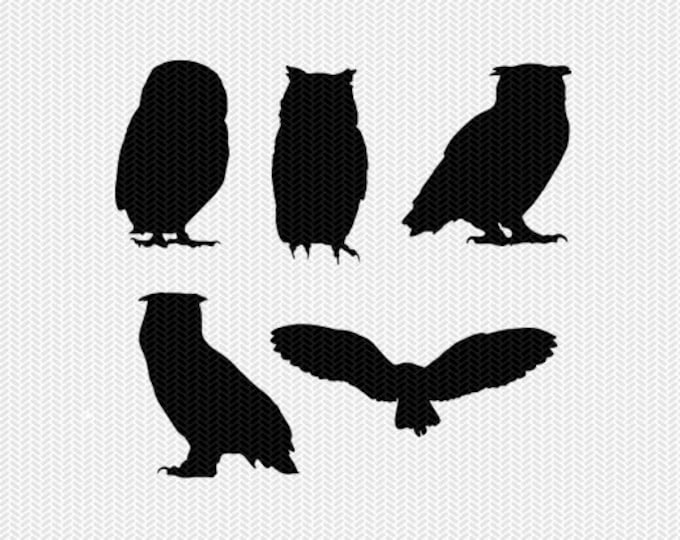 owls svg dxf jpeg png file instant download stencil silhouette cameo cricut downloads clip art commercial use