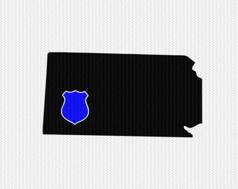 kansas police svg dxf file stencil instant download silhouette cameo cricut downloads clip art police state svg dxf file