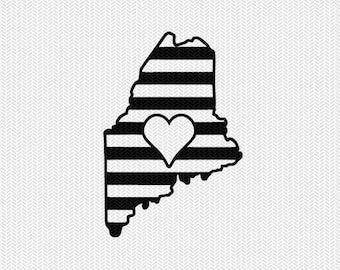 maine stripes heart svg dxf file download stencil silhouette cameo cricut downloads cut file downloads clip art commercial use
