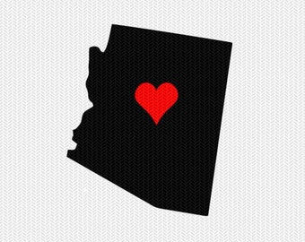arizona heart svg dxf file stencil monogram frame silhouette cameo cricut clip art commercial use