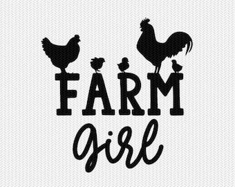 farm girl svg dxf file instant download stencil silhouette cameo cricut clip art animals commercial use cricut downloads