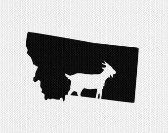 montana goat svg dxf file stencil instant download silhouette cameo cricut downloads clip art animals goat state svg dxf file