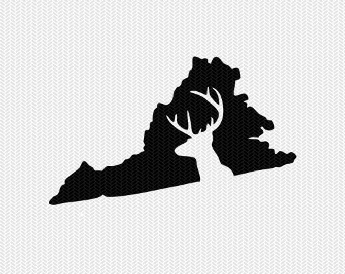 virginia deer hunting svg dxf file stencil instant download silhouette cameo cricut downloads clip art deer hunting state svg dxf file