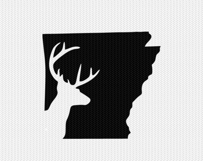 arkansas deer hunting svg dxf file stencil instant download silhouette cameo cricut downloads clip art deer hunting state svg dxf file