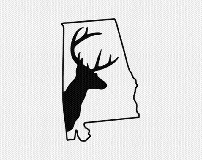 alabama deer hunting svg dxf file stencil instant download silhouette cameo cricut downloads clip art deer hunting state svg dxf file