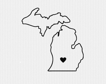 michigan outline heart svg dxf file stencil silhouette cameo cricut downloads clip art commercial use
