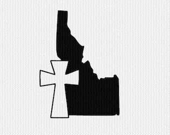 idaho cross svg dxf file stencil state cut file silhouette cameo cricut download clip art commercial use