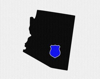 arizona police svg dxf file stencil instant download silhouette cameo cricut downloads clip art state svg dxf file