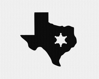 texas sheriff svg dxf file stencil instant download silhouette cameo cricut downloads clip art sheriff state svg dxf file