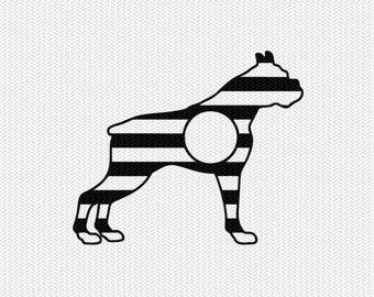 dog stripes monogram svg dxf file instant download stencil silhouette cameo cricut downloads clip art commercial use