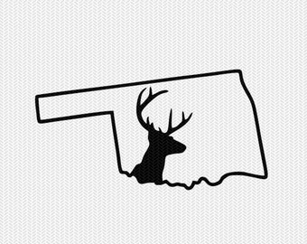 oklahoma deer hunting svg dxf file stencil instant download silhouette cameo cricut downloads clip art deer hunting state svg dxf file