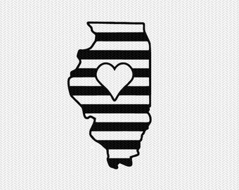 illinois stripes heart svg dxf file download stencil silhouette cameo cricut downloads cut file downloads clip art commercial use