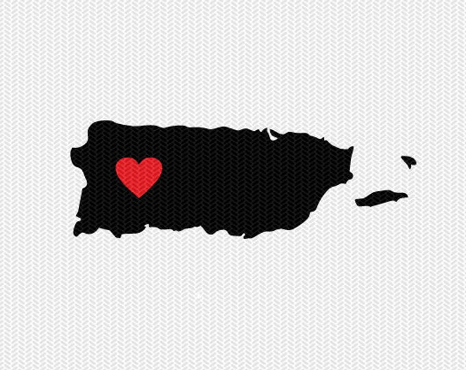 puerto rico heart svg dxf file stencil monogram frame silhouette cameo cricut download clip art commercial use