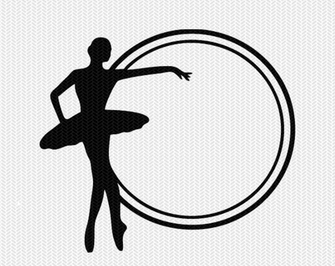 ballerina circle monogram frame svg dxf file instant download silhouette cameo cricut downloads clip art commercial use
