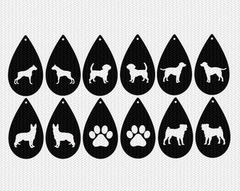 dog paw earring template earring svg gift tags cricut download svg dxf file stencil silhouette cameo cricut clip art commercial use