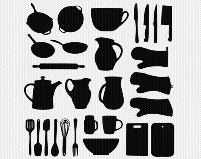kitchen svg dxf jpeg png file instant download stencil silhouette cameo cricut downloads clip art commercial use