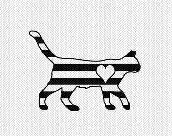 cat stripes heart svg dxf file instant download stencil silhouette cameo cricut downloads clip art commercial use