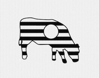 cow stripes monogram svg dxf file instant download stencil silhouette cameo cricut downloads clip art commercial use