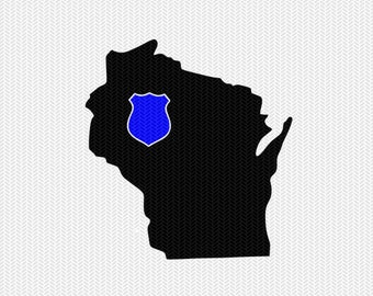 wisconsin police svg dxf file stencil instant download silhouette cameo cricut downloads clip art state svg dxf file