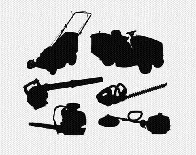lawn care tools and equipment svg dxf file stencil monogram frame silhouette cameo cricut download clip art commercial use