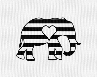 elephant stripes heart svg dxf file instant download stencil silhouette cameo cricut downloads clip art commercial use