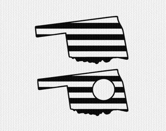 oklahoma stripes monogram svg dxf file download stencil silhouette cameo cricut downloads cut file downloads clip art commercial use