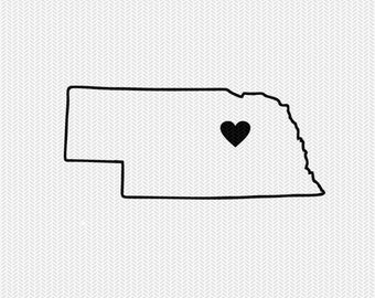 nebraska outline heart svg dxf file stencil silhouette cameo cricut clip art commercial use