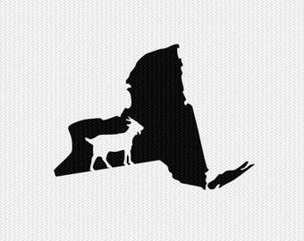 new york goat svg dxf file stencil instant download silhouette cameo cricut downloads clip art animals goat state svg dxf file