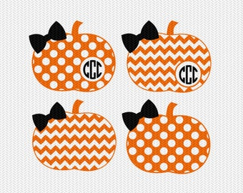 chevron pumpkin polka dot pattern monogram frame svg dxf file instant download stencil silhouette cameo cricut clip art commercial use