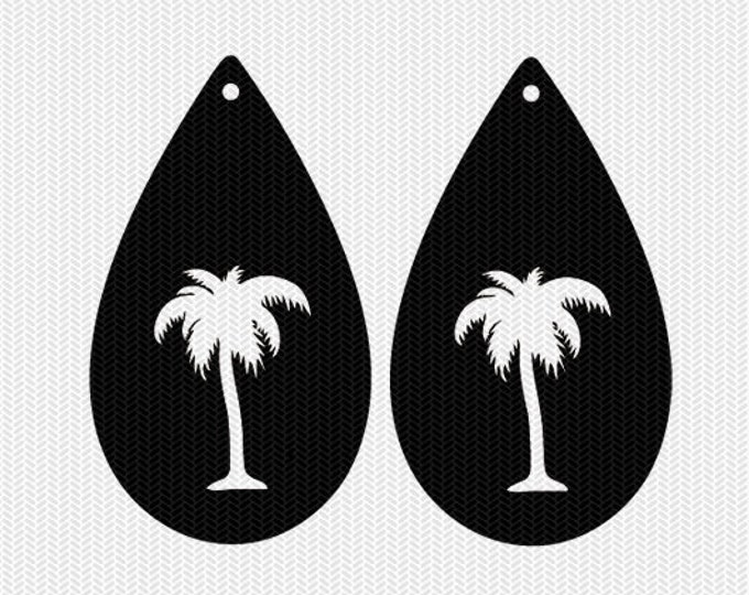 palm tree earring template earring svg gift tags cricut download svg dxf file stencil silhouette cameo cricut clip art commercial use