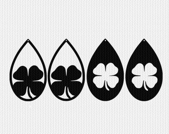 shamrock earring template earring svg gift tags cricut download svg dxf file stencil silhouette cameo cricut clip art commercial use