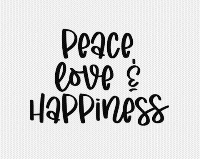 peace love and happiness clip art svg dxf file instant download silhouette cameo cricut clip art commercial use cricut download