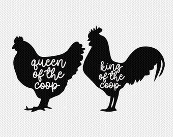 king and queen of the coop svg dxf file instant download stencil silhouette cameo cricut animals commercial use cricut downloads