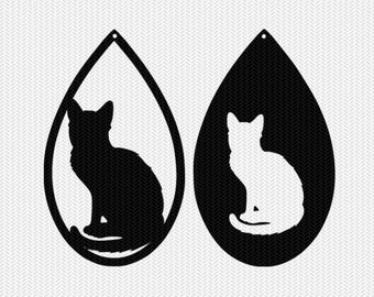 cats earring template earring svg gift tags cricut download svg dxf file stencil silhouette cameo cricut clip art commercial use