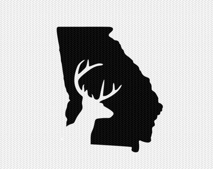 georgia deer hunting svg dxf file stencil instant download silhouette cameo cricut downloads clip art deer hunting state svg dxf file