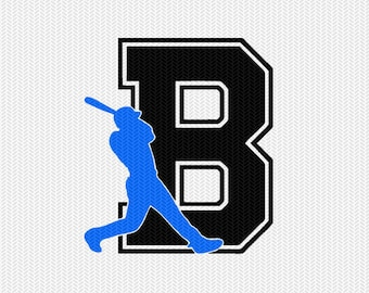 baseball B decal monogram silhouette stencil svg dxf file instant download silhouette cameo cricut downloads clip art commercial use