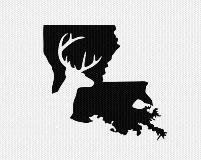 louisiana deer hunting svg dxf file stencil instant download silhouette cameo cricut downloads clip art deer hunting state svg dxf file