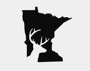minnesota deer hunting svg dxf file stencil instant download silhouette cameo cricut downloads clip art deer hunting state svg dxf file
