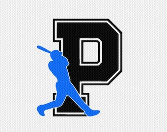 baseball P decal monogram silhouette stencil svg dxf file instant download silhouette cameo cricut downloads clip art commercial use